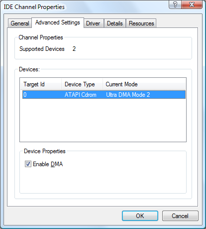 How to Check/Enable DMA transfers in Windows Vista : Hardware